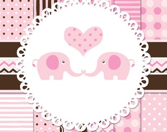 Pink Elephants Digital Clip Art - Pack - Digital Papers, Elephants, and Hearts - Pink and Brown