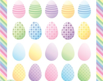 Easter Eggs Clip Art - in Soft Pastel Colors