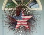 Summer Wreath - Patriotic Wreath - Fourth of July Wreath - Star Wreath - Flag Wreath