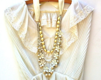 Wedding Necklace, Multi Strand Vintage Inspired Cream Satin Ribbon, Enamel Cream Flowers  Beads And  Rhinestone Chains, Bridal, Wedding