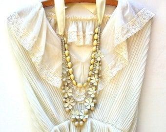 Wedding Necklace, Multi Strand Vintage Inspired Cream Satin Ribbon, Enamel Cream Flowers  Beads And  Rhinestone Chains, Bridal, Wedding