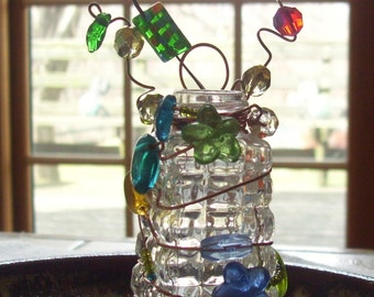 In the Garden - Wire Wrapped Beaded Bottle - Plant Rooter