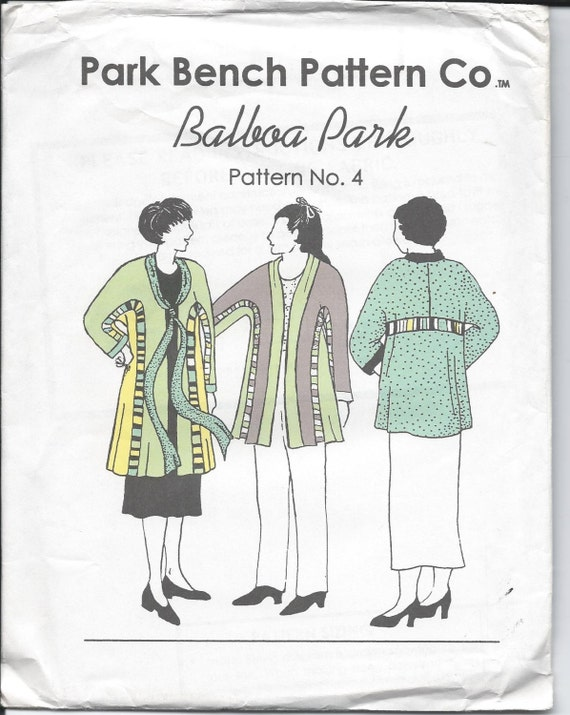 Park Bench No 4 Balboa Park Jacket Sewing Pattern By