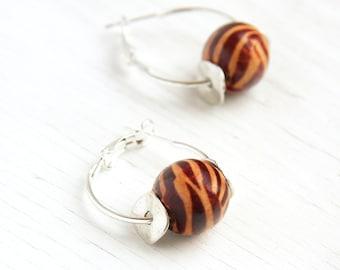 Zebra Pattern Earrings, Tribal Inspired, Sterling Silver Hoop Earrings, Brown Wooden Pattern Beads, Fashion Jewelry, Simple Everyday Jewelry