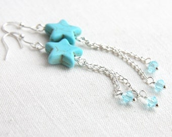 Summer Outdoors Enchanting Turquoise Shooting Star Earrings Silver Chain Earrings Wire wrapped Crystals Ocean Blue Summer jewelry trend 2017