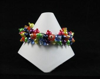 Rainbow Loaded Bracelet - red orange yellow green blue indigo violet glass crystal pearl cluster unique handmade bracelet rainbow