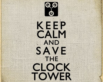 Keep calm Back to the Future Clock tower Digital Burlap large image Download For tag towel label iron on fabric paper transfer pillow n886