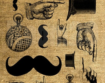 INSTANT DOWNLOAD - Hat, Moustache, Hands, Watch - Image Transfer - Digital Collage Sheet by Room29 - Sheet no. 884