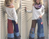 Patchwork Eco Gaucho PANTS, Size M/ L, upcycled clothing,yoga, cargo pocket, earthy mix, volcano applique by Zasra