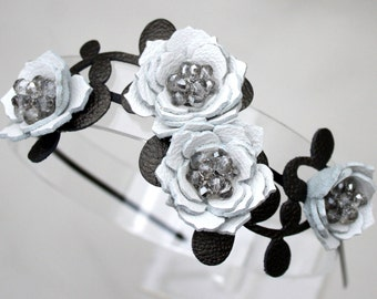 Bridal hair flower headband black and white headband wedding hairpiece leather headband with crystal beads woodland wedding prom