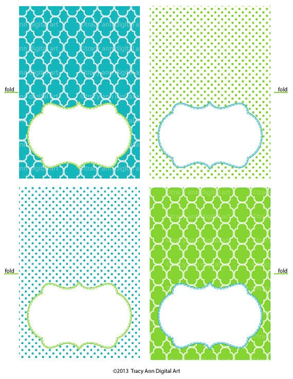Printable tent cards ginny blue and green for Free tent card template