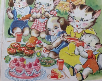 Vintage Ruth Newton Childrens Nursery Rhyme Book Print-Picnic Kittens Family-Book Plate