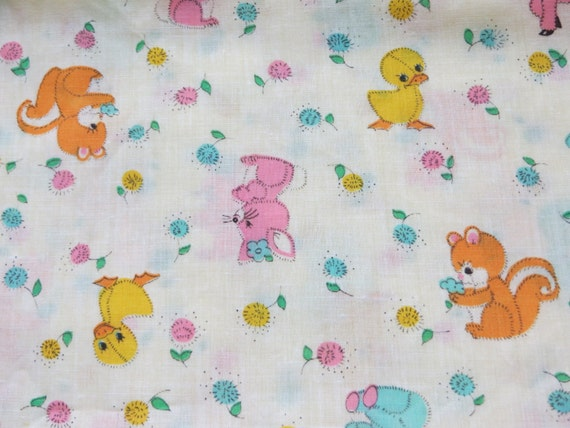 Vintage cotton fabric with cute baby animals childrens for Cute baby fabric
