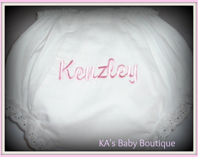 Baby toddler girl bloomers diaper cover personalized monogrammed