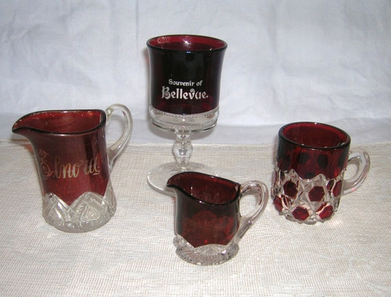 4 Vintage Pieces Ruby Stained Glass Pitchers Goblet 1890's to 1910's