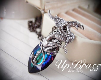 Azrael --Swarovski X-large green sphinx crystal,aged silver brass griffin necklace