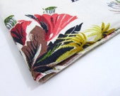 Vintage Barkcloth 1940s Fabric in Tropical Floral