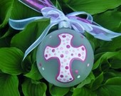 Personalized Cross Ornament for Communion, Baptism, Birthday or Memorial - Hand Painted Glass Ball, Memorial Gift, Holy Communion, Pink