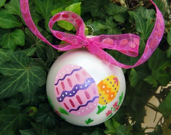 Easter Eggs Ornament - Personalized Handpainted Ornament - Easter Decoration for Easter Tree, Personalized Easter, Baby's First Easter