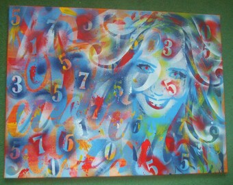 Abstract painting of letters & numbers with womans face,stencil art,spray paint,street art,canvas,graphical,large,urban,graffiti,typography
