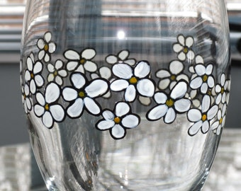 Sale Daisy Chain Wine Glass Goblet Style Hand Painted iced Tea Water Sweet Tea