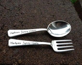 Custom Stamped Solid Sterling Toddler Spoon & Fork SET