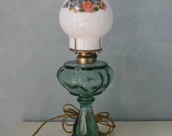 Antique Green Glass Heart Design Lamp & Flower Milk Shade