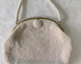 Vintage White bead Pearl Handbag