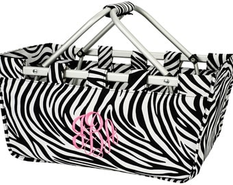 Large zebra market tote with personalized embroidery