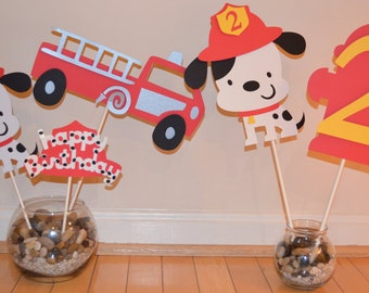 Dalmatian Fire Dog Fire Truck Birthday Centerpiece