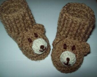 Hand Crochet Baby Boy or Girl Infant TEDDY BEAR Booties