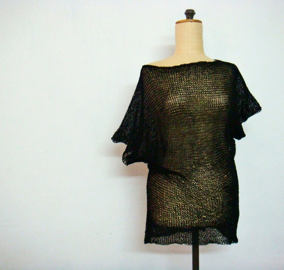 Hand Knit Black Sheer Blouse Top Shirt Size S-M