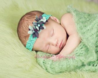 Teal Flower Headband, Baby Headband, Newborn Headband