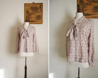 vintage pink paisley ASCOT blouse