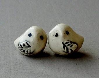 Snowy Owl Terrarium Figurine - Owl Miniature Figurine - Pottery Animals - Miniature Garden Owls - Set of Two (studio choice)