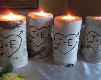 "10 Personalized Birch Bark Candle Holders 4"" Tall  Wedding Decor  Bridal Showers Wedding Centerpiece"