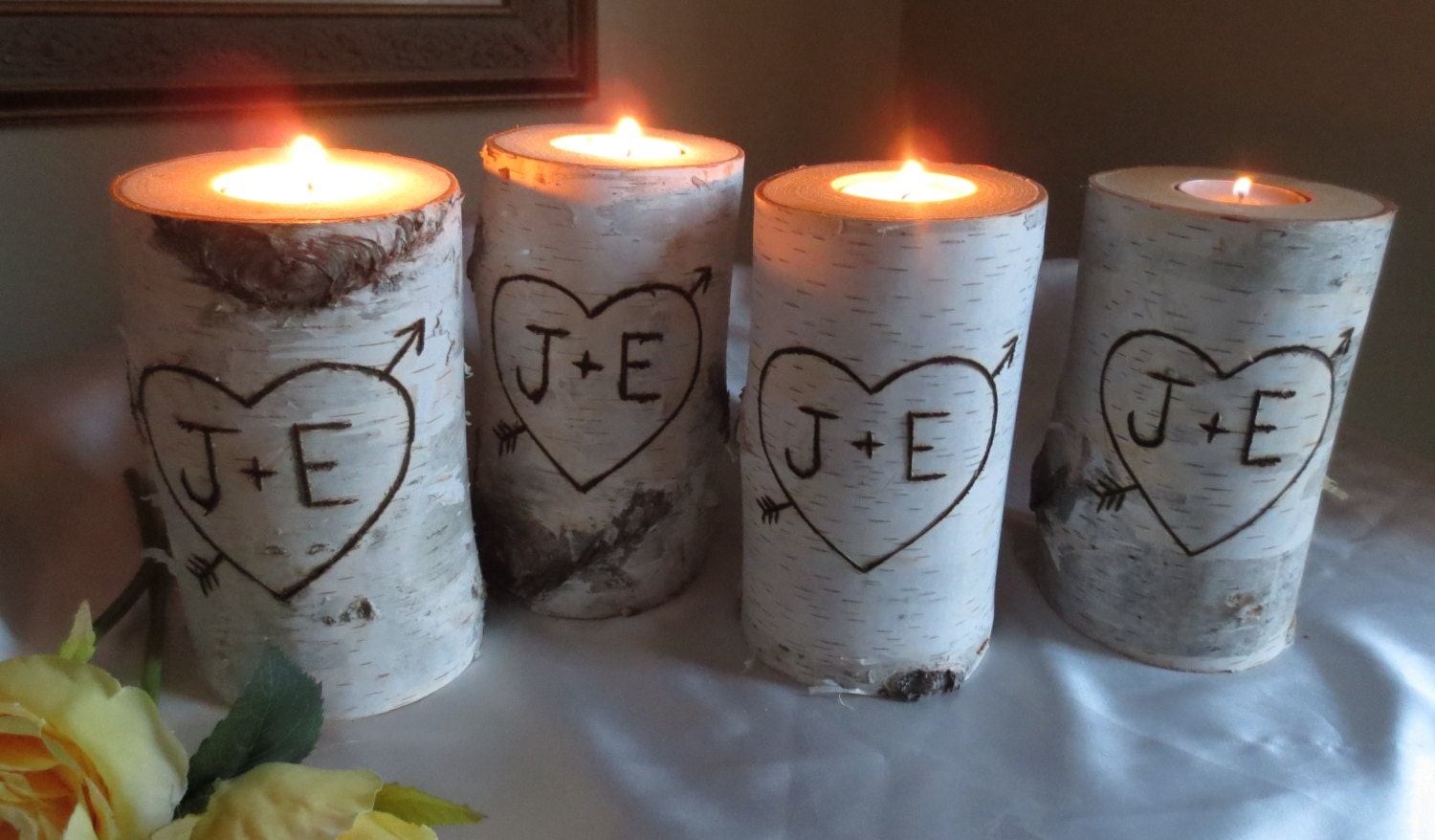 10 Personalized Birch Bark Candle Holders 4 by ...