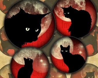 Black Cats on Red Moonlit Skies 1 inch Circles Halloween Digital Collage Sheet--Instant Download