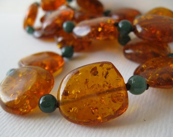 Fall Color Amber and Jade Chunky Necklace