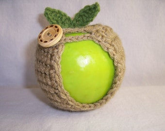 Handmade Crocheted Apple Cozy - Crochet Apple Cozy in Taupe