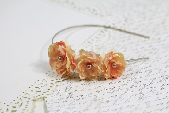 Peach Delight Flower Headband with Pearl Center