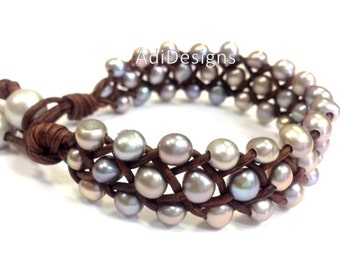 SALE - Freshwater Pearl and Leather Bracelet - Orrawee A