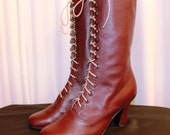 Victorian High Heel Lace up Boots Burgundy Leather Ankle boots Order your customized size