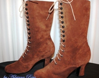 Brown Victorian  Boots Lace up in Suede Brown Chocolate  leather Ankle boots High Heels ORDER your customized size