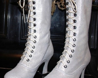 Wedding Shoes Bridal Victorian Boots  Lace up  White Glitter Ankle Boots ORDER your customized  size