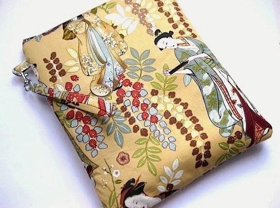 PADDED Zip iPad1or2 Case w Wristlet GEIKO GARDEN Michael Miller Geisha Girl -beige brwn rust