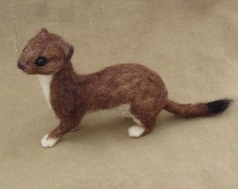Needle felted weasel or stoat, made to order, pose-able life-sized woodland animal