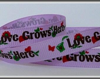 "S'Love Grows Here' purple 3/8"" grosgrain ribbon, 5 yards"