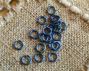 25pcs 5mm 20 Gauge Niobium Jumprings Teal Round  Jump Rings Nickel Free