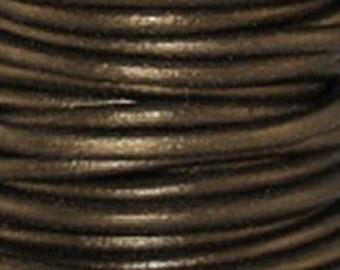 1mm Round Leather Cord Metallic Gauriya Brown 2 yards 1.83m